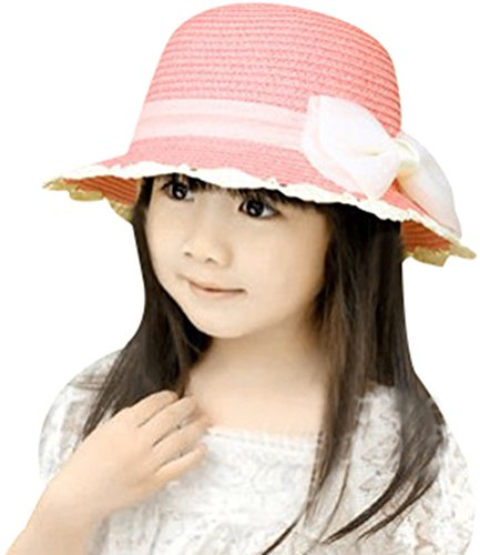 Summer Fairy Lace Wings - Little Girl Kids Summer Wide Brim Floppy Beach Sun Visor Hat with Lace Bowknot