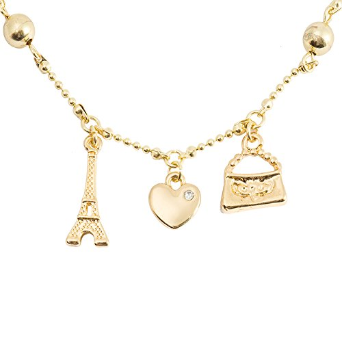 Gold heart Bracelets for Girls with Eiffel Tower Chain Charm Fashion Bracelets (gold heart with Eiffel Tower)