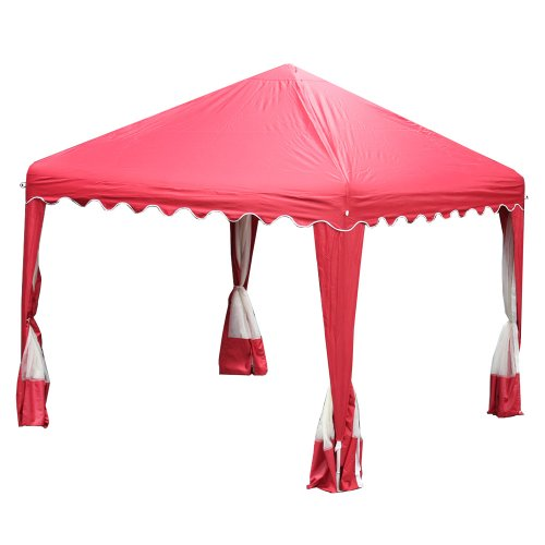 King Canopy GP1010R 10-Feet by 10-Feet Garden Party Canopy, Red with Bug screens by King Canopy