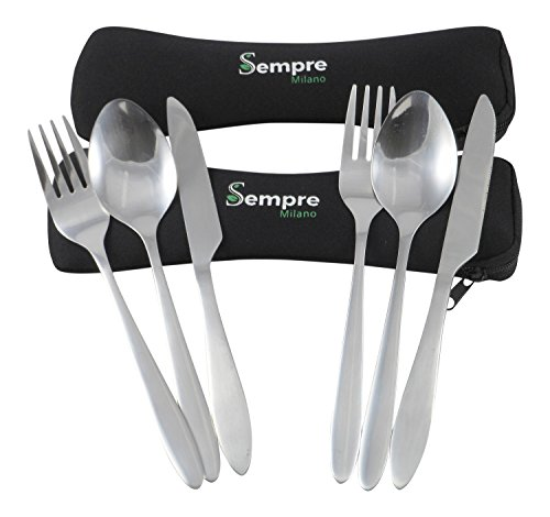 3 Piece Stainless Steel Utensils to Go Set (Knife Fork Spoon) Travel Camping Cutlery with Neoprene Case, Portable Reusable Lunch Box Flatware (2 Pack) by Sempre