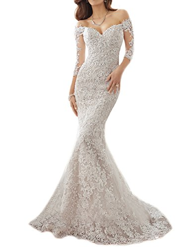 OYISHA Shoulder Lace Mermaid Wedding Dresses 1/2 Sleeve Bridal Gown WD164