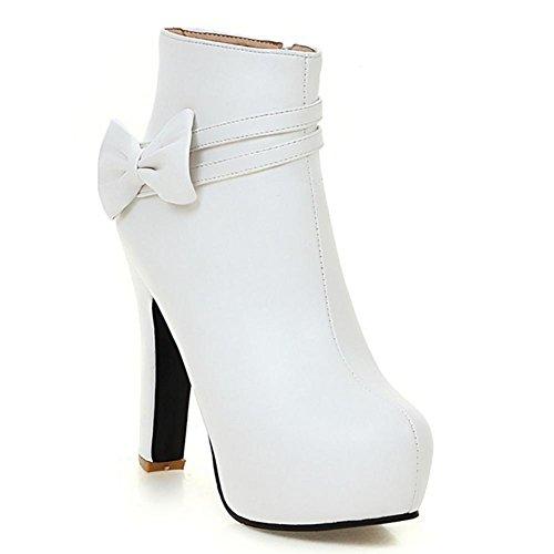 H HFour Seasons donna (beige bianco e nero) nodo farfalla tavolo impermeabile tacco alto cintura fibbia stivali di gomma antiscivolo-resistente , white , 38