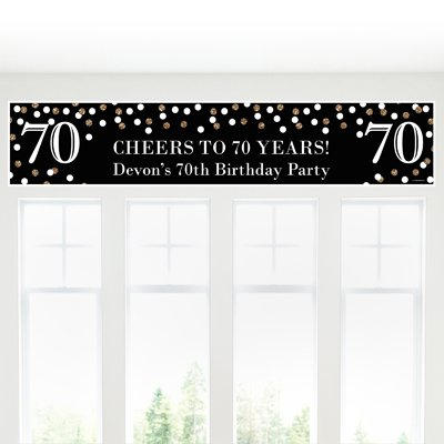 (Big Dot of Happiness Custom Adult 70th Birthday - Gold - Personalized Birthday Party Decorations Party Banner)