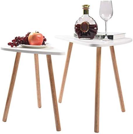 Hoogst Gewaardeerd Schimer 2 x bijzettafel wit salontafel rond woonkamertafel Scandinavisch koffietafel sattafel zijtafel salontafels set groot (60 x 40 x 45 cm), klein (45 x 30 x 40 cm)  pVHxkJp