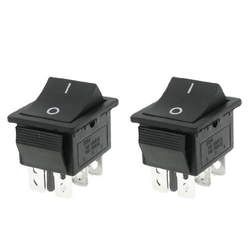 Water /& Wood 250V//15A 125V//20A AC Momentary ON//OFF DPDT Rocker Switch 2 Pcs