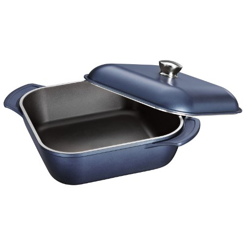 Tramontina 80142/039DS LYON Cold-Forged Induction-Ready Aluminum w/ Ceramic-Reinforced Nonstick Covered Square Roaster, 6-Qt, Sapphire, Made in Brazil