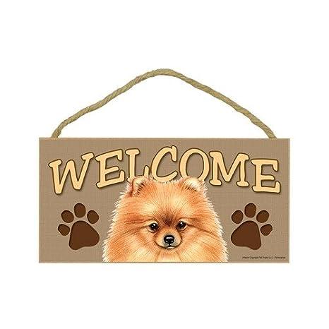 Amazon.com: Pomeranian Cartel de madera