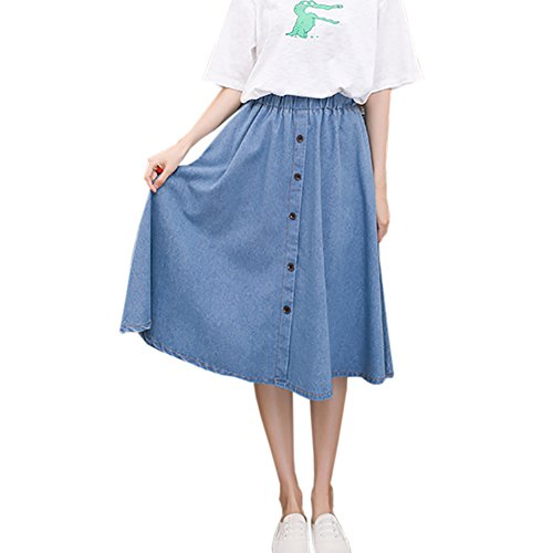 Autumn and winter the new A word skirt high waist skirt(Blue) - 1