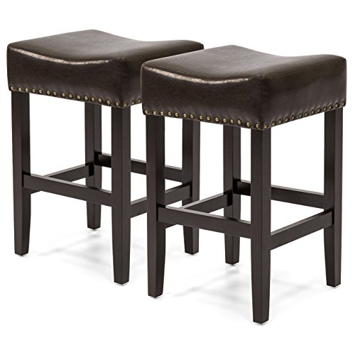 Best Choice Products Set of 2 Backless Faux Leather Upholstered 26in Counter Stools w/Brass Nailhead Trim - Brown
