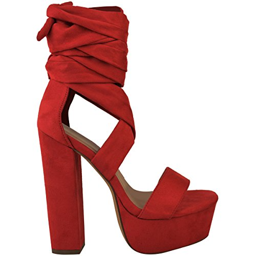 Platforms High Up Heels Party Block Womens Shoes Size Red Fashion Thirsty Ankle Suede Tie Sandals Lace Faux WpnIRwU0q