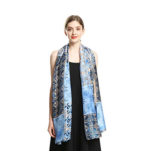 100% Silk Scarfs for Women Long Large Sunscreen Satin Shawls Fashion Lightweight Floral Pattern Scarves for Ladies (Blue)
