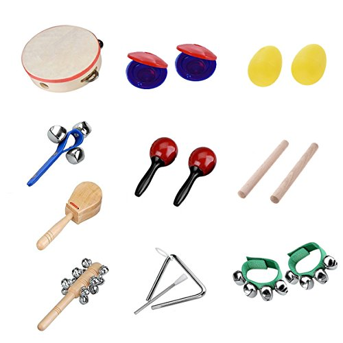 M Y Fly Young 10 PCS Musical Instruments Percussion Instrument Sets Toy Rhythm Band For Kids Preschool Educational Tools