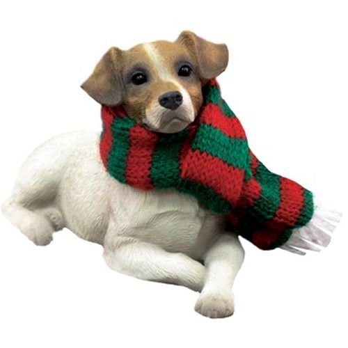 Sandicast Jack Russell Terrier with Red and Green Scarf Christmas Ornament