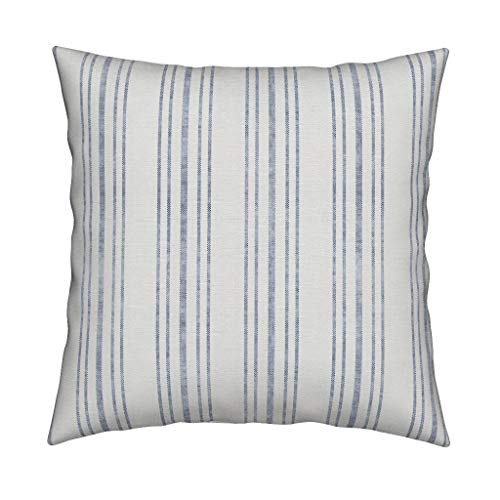 Cottage Shabby Throw - Roostery Blue French Ticking Eco Canvas Throw Pillow Farmhouse French Cottage Shabby Chic Ticking Stripe Distressed Look by Holli Zollinger Cover and Insert Included
