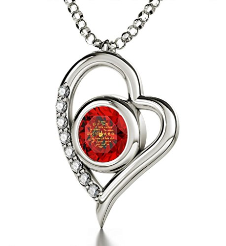 925 Sterling Silver Heart Pendant Necklace I Love You 12 Languages 24k Gold Inscribed Red Crystal, ()