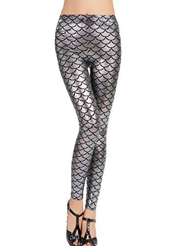 Sirena Sexy pantaloni Sport Yoga Donna Stampato Befox di Pesci Leggings Scala B CFUqTx5