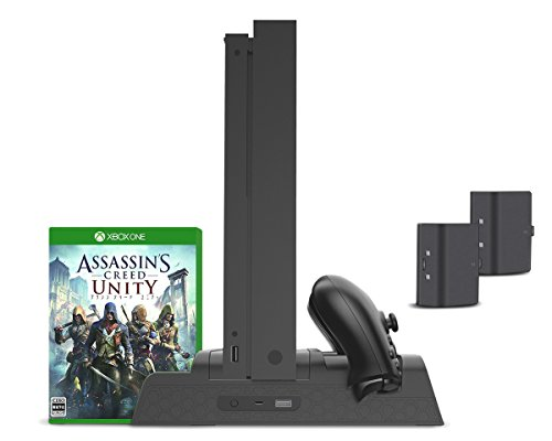 Vertical Stand, Controller Charger, Cooling Fan for Xbox One, One S, One X and Elite - ElecGear Dual Charging Docking Station, 2X Rechargeable Battery Pack, USB Hub, Games Storage Holder Rack