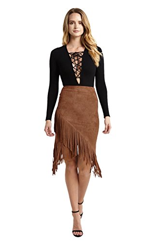 Womens Faux Suede Fringe High Waist Bodycon Skirt Brown S