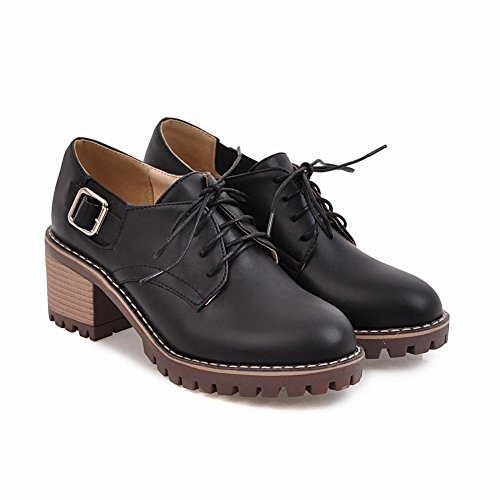 Cute Up Buckle Casual Women's Black Carolbar Oxfords Lace Mid Shoes Heel Z6qw1AIx