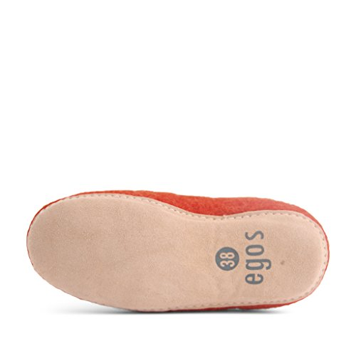 Egos House Slippers: 100% Natural Sheep Wool Handmade Slippers| Warm, Ultra Comfortable & Moisture-Wicking| Deluxe Slip On Slippers with Anti-Skid Leather Sole| Bedroom Rusty Red