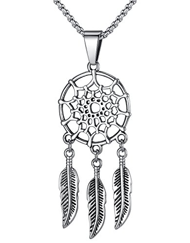 LineAve Stainless Steel Bohemian Tassel Feather Wing Dream Catcher Pendant Necklace, 8a0043