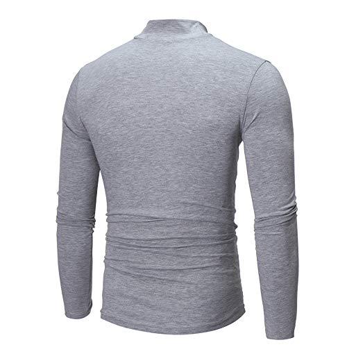 T Adolescents shirt Sport Roulé Top Homme Col Longue Couleur Shirt T Garçon Blouse Robemon✪fashion Gris Unie Manche dOPn4d