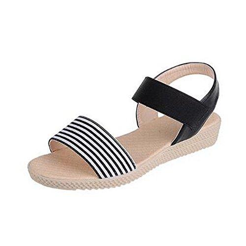 Angelliu Confortables Sandales À Rayures Plates Sandales De Voyage Plage Chaussures De Maternité Noir