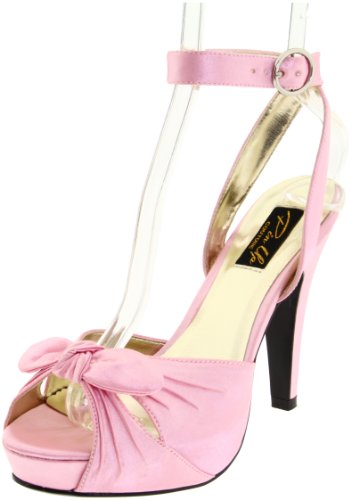 Pleaser Women's Bettie-04/BP Ankle-Strap Sandal,Pink Satin,8 M (Satin Ankle Wrap Sandal)