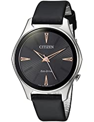 Citizen Womens Eco-Drive Quartz Stainless Steel and Leather Dress Watch, Color:Black (Model: EM0591-01E)