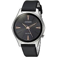 Citizen Women's 'Eco-Drive' Quartz Stainless Steel and Leather Dress Watch, Color Black (Model: EM0591-01E)