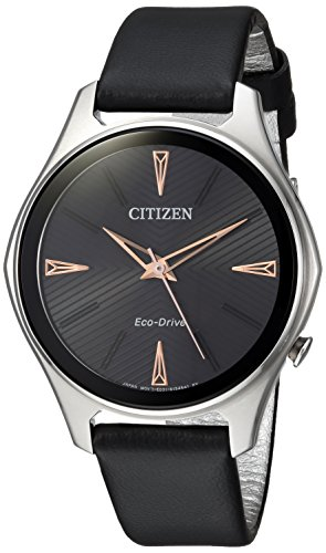 -Drive' Quartz Stainless Steel and Leather Dress Watch, Color:Black (Model: EM0591-01E) ()