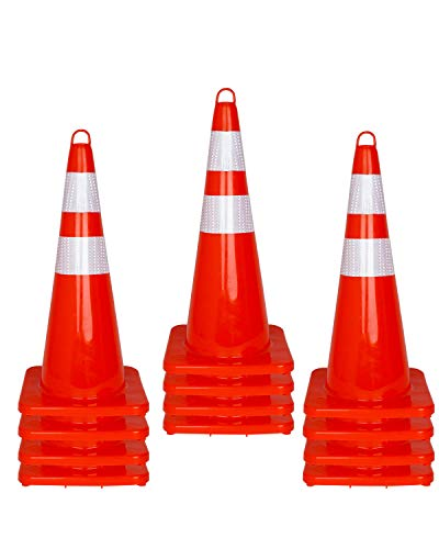 12 Pcs Traffic Safety Road Cones – 28 Inch Orange Traffic Parking Cons with Reflective Collar…