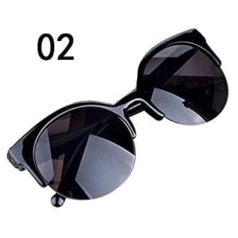 c93907d6ca OUBAO Vintage Sunglasses Cat Eye Semi-Rim Round Eye glasses Polarized Sun  glasses for Men
