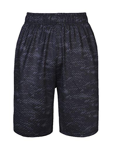 Men's Elastic Waist Black Shorts with Dark Fringe (Pattern,XL)