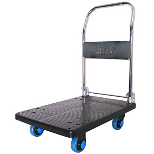 Zehaer Portable Trolley, Blue Four Wheel Small Cart Van Tool Cart Hand Truck Mute Trolley Industrial Trucks Flat Trolley Load 150KG (Color : Black) (Color : Black) ()