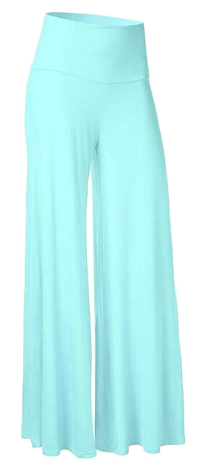 ARTFFEL Womens Casual Solid Comfy High Waist Wide Leg Palazzo Pants Light Blue M