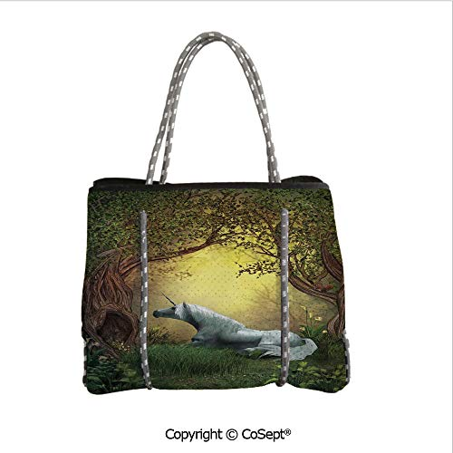 (Neoprene Beach Bag,Enchanted Forest Fantasy Magical Willow Trees Wildflowers Woodland Animal Folklore,for Beach,Picnic(14.9