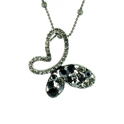 Black on Antique Silver Superstar Butterfly Necklace