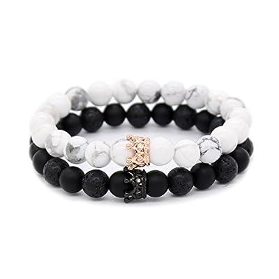 "POSHFEEL Couple Black Matte Agate & White Howlite CZ Crown Queen 8mm Beads Bracelet, 7.5"""
