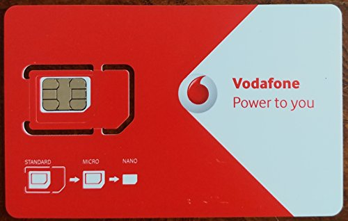 Vodafone UK Europe Prepaid SIM - Loaded with Voice, Data, Texts, and Int'l Calling (Best Calling Card For Europe)