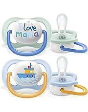 Philips Avent Ultra Air-fopspeen, voor 0-6 maanden, orthodontisch en BPA-vrij, 2 stuks, inclusief sterilisator/draagtas, SCF080/01