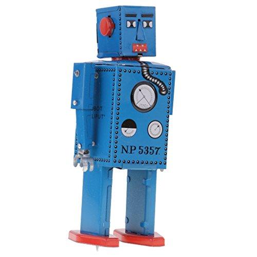 Jili Online 3PCS Vintage Tin Toy Mechanical Clockwork Lilliput Robot Collectible Models by Jili Online (Image #6)
