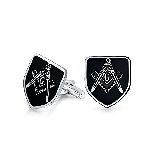 Bling Jewelry Freemasons Masonic Compass Symbol Shield Shape Cufflinks for Men Black Silver Two Tone Stainless Steel Hinge Back