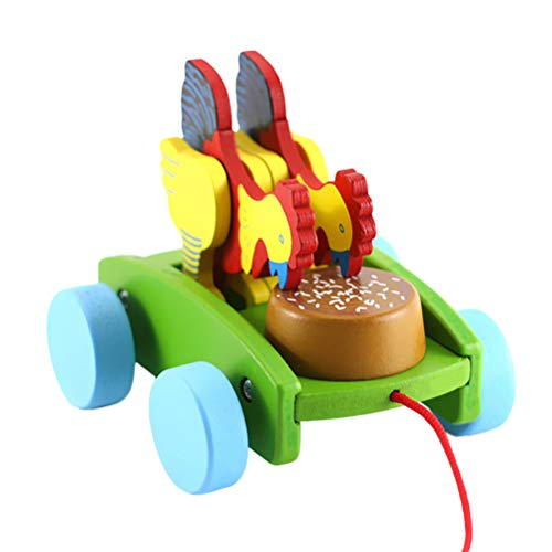 NUOBESTY Chicken Pecking Toy Car Model Push Pull Wooden Chick Rooster Educational Toy for Kids Easter Party Favor (Random Color)