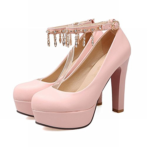 Latasa Womens Ankle Strap Platform High Heels Dress Pumps Pink 7WqDC
