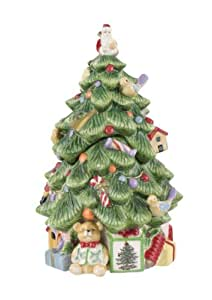 Spode Christmas Tree Sculpted Christmas Tree Shape Covered Candy Bowl, 9-Inch