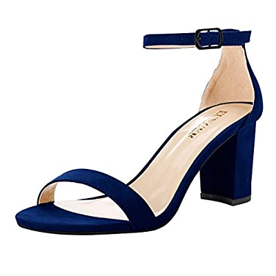 Eunicer Women's Single Band Classic Chunky Block High Heel Sandals with Ankle Strap Dress Shoes