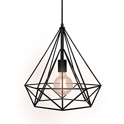 WestMenLights Wrought Iron Diamond Shape Shade Modern Hanging Pendant Light