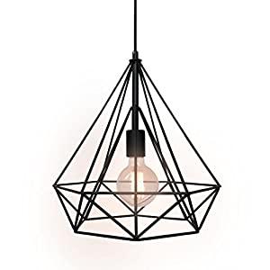 WestMenLights Wrought Iron Diamond Shape Shade Modern Hanging Pendant Light
