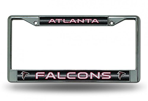 (NFL Atlanta Falcons Bling Chrome License Plate Frame with Glitter Accent)